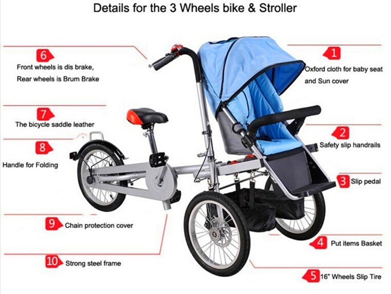 7217e59e5d0 Amazon.com : MISHOW 3 in 1 Mother Bicycle Baby Stroller Pushchair 3 Wheel  Bike Folding Child Cargo Bicycle MBTS01R : Baby