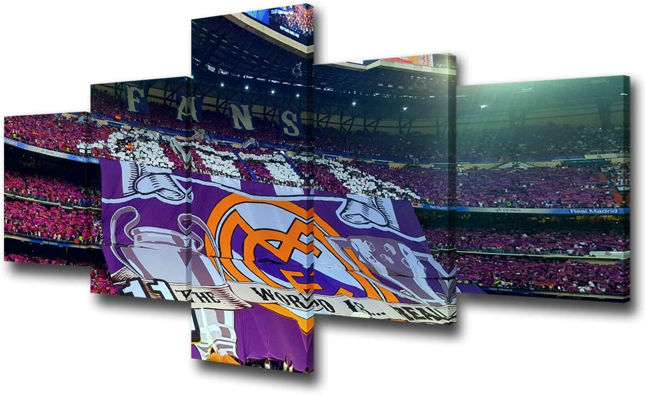 Framed Real Madrid Football Team Canvas Print Wall Art Home Decor 5 Piece