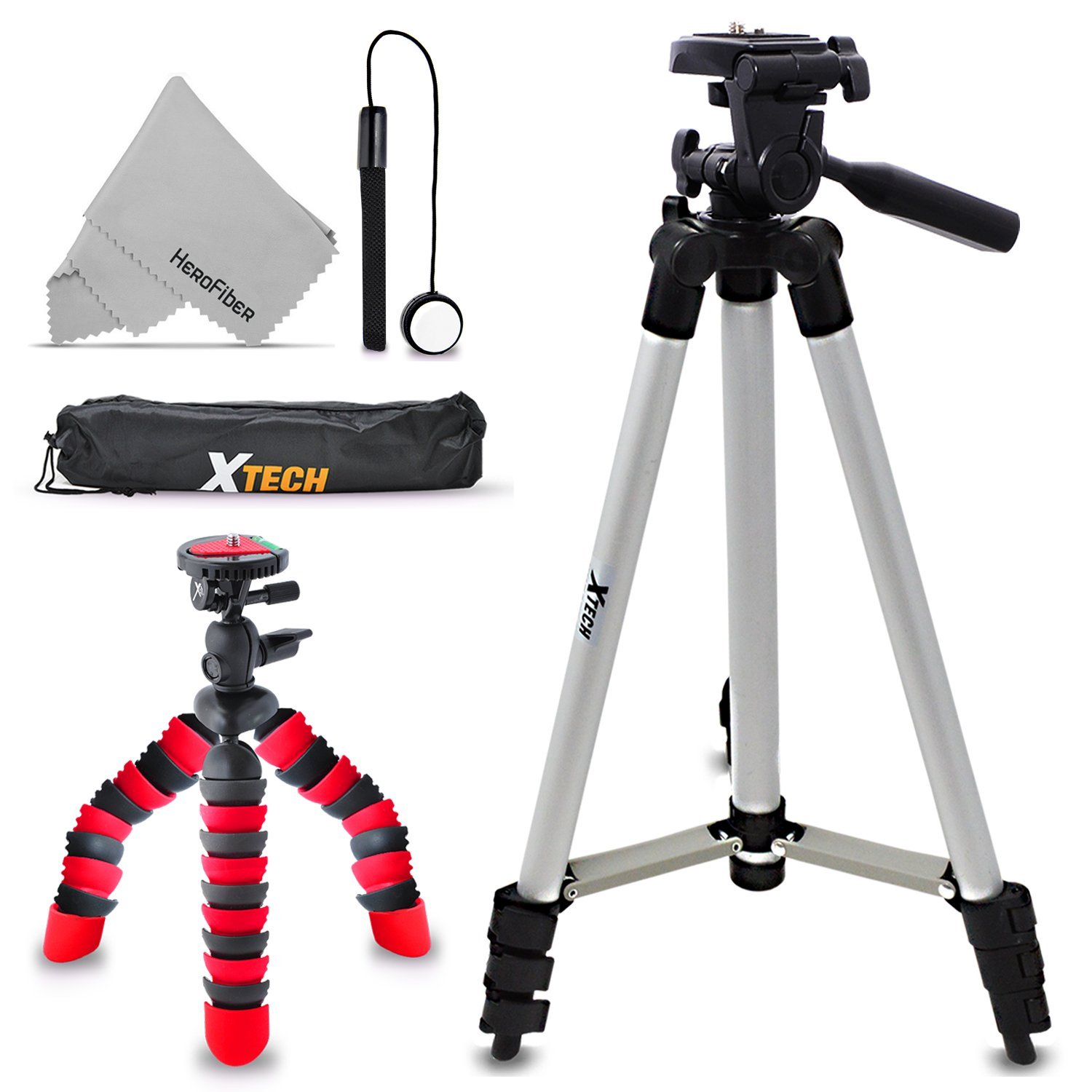 "Xtech Double Tripod Kit with 50"" Inch Tripod + 12"" Flexible Tripod for Nikon Coolpix W300, W100, A900, AW130, AW120, A10, A100, S33, S32, S9900, S7000, S6900, L31, L32, S3700, S2900 by HeroFiber"