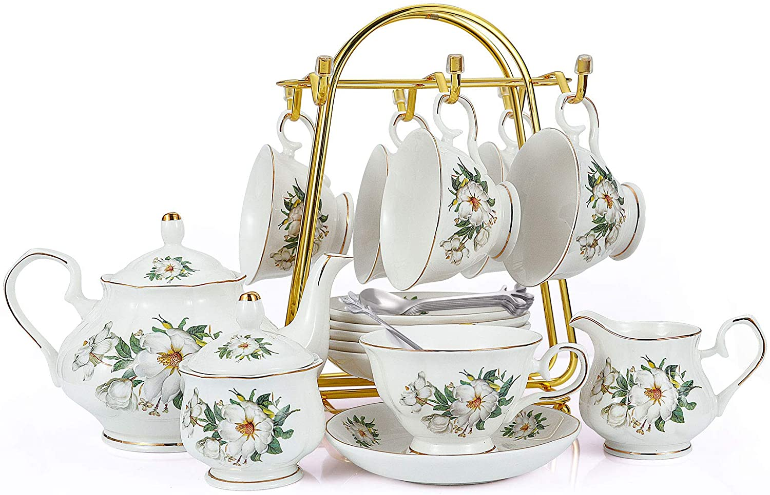 5-Piece Porcelain Ceramic Coffee Tea Gift Sets, Cups& Saucer Service for  5, Teapot, Sugar Bowl, Creamer Pitcher and Teaspoons.