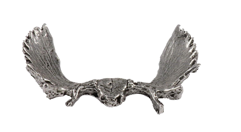 Brooch Moose Antler Rack Mammal Pewter Lapel Pin Jewelry M018