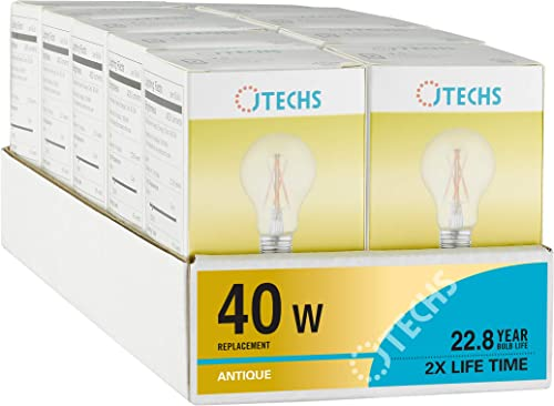 JTechs 10-Pack Vintage LED A19 Bulbs Amber Tinted Glass Dimmable Antique 2200K A19 40 Watt Replacement Providing 400 Lumens of Light. Best for Decorative Fixture and Bar Pendant UL Listed.