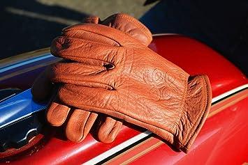 M, Cognac THROTTLESNAKE Guantes de Moto Vintage en Cuero de B/úfalo Marr/ón Cognac con Sello de Serpiente ROAD ROAMER /† Brown Old School Motorcycle Buffalo Leather Gloves with Badass Snake Embossi