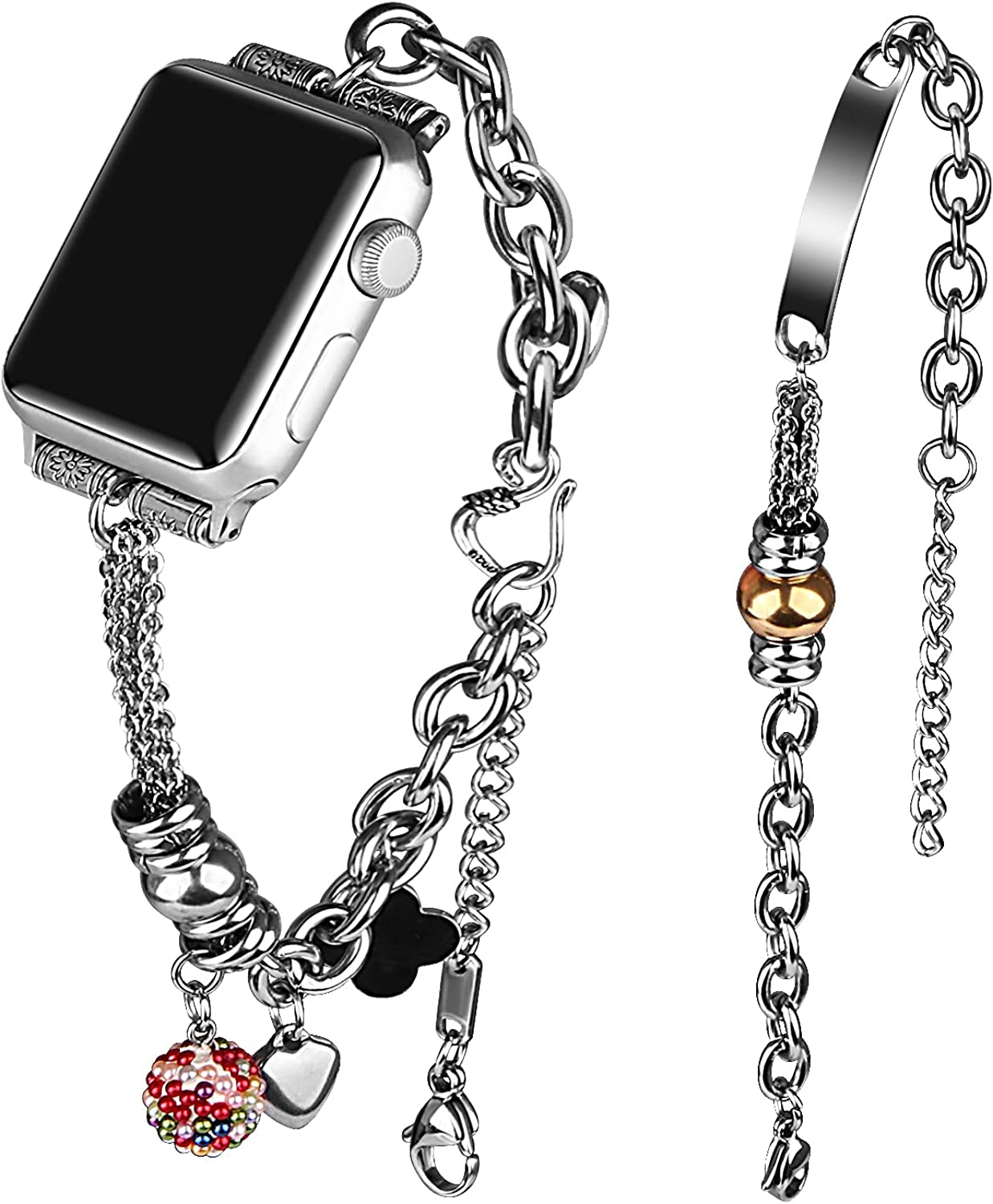 VIIVY VIYIV Bling Bands Compatible with Apple Watch Band 38mm 40mm 42mm 44mm Iwatch SE Series 6/5/4/3/2/1, Women's Rhinestone Charms Strap Double Tour Chain Bracelet Wristband Stainless Steel