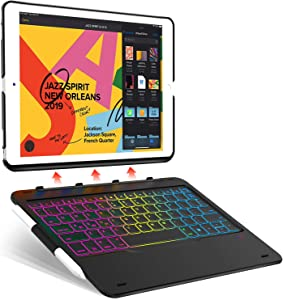 iPad Keyboard Case for iPad 8th Gen 2020/ 7th Gen 2019 10.2 inch, iPad Air 3rd Gen 10.5 2019, iPad Pro 10.5 2017-7 Color Backlit/ 343 Mixed Mode - Detachable- Thin & Light- Auto Sleep Wake, Black