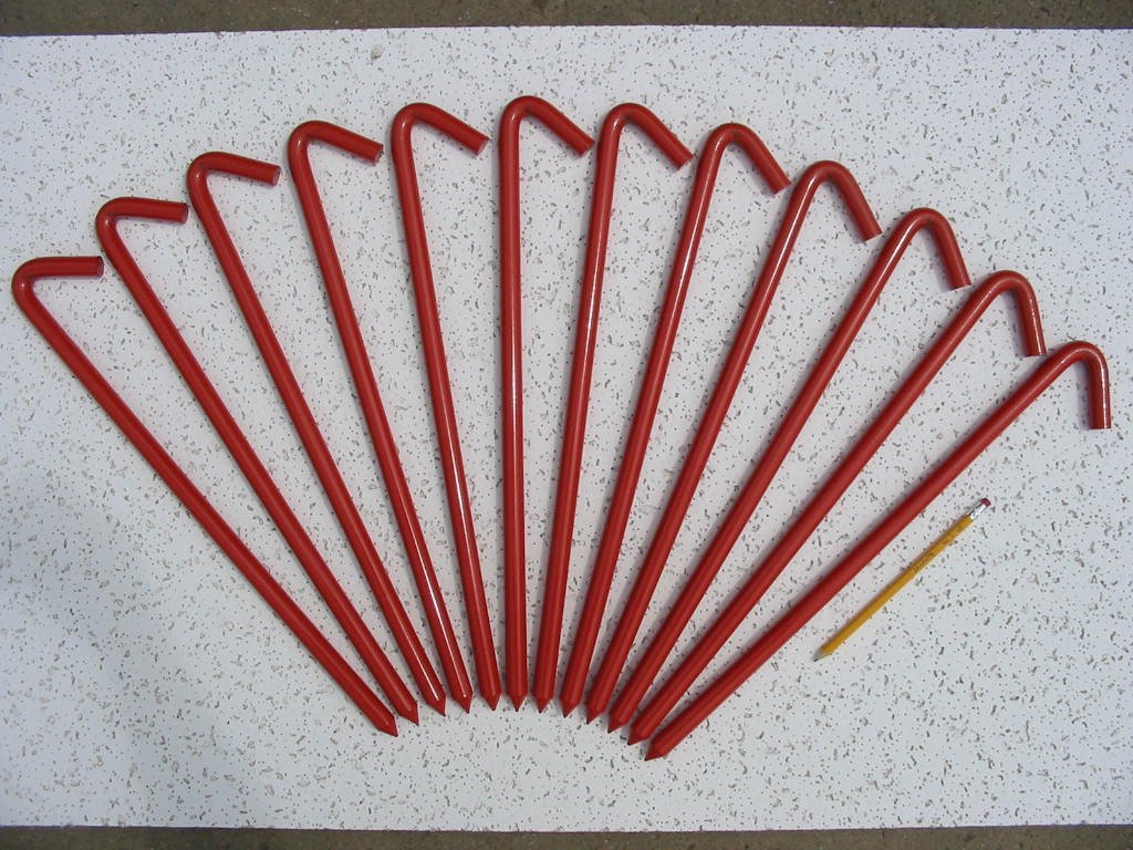 A 12 Pack of 18'' long steel Hook Style Inflatable or Tent Stakes (Red) by Monk Industries