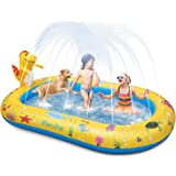 Large Dinosaur Water Sprinkler Wading Pools Splash Pad, Kids Adults Inflatable Swimming Pool Water Mat Toy for Outdoor Backya