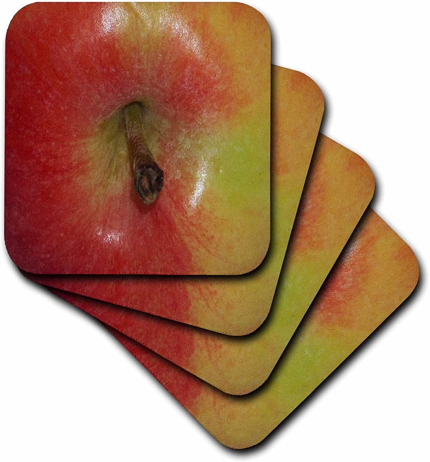 3dRose cst_21644_2 Red and Yellow Apple Stem Soft Coasters, Set of 8