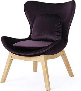 Christopher Knight Home Nettie Mid-Century Modern Velvet Accent Chair, Blackberry / Natural