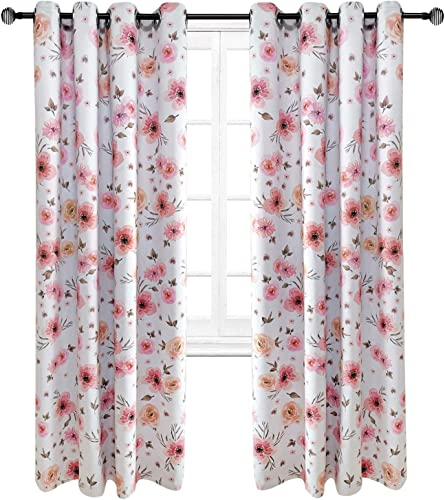 Riyidecor Blackout Floral Curtains Sweet Designs Blush Pink Flowers Baby Girl Dream Shabby Chic Country Watercolor Window Treatment Living Room Bedroom Window Drapes Fabric 2 Panels 52 x 84 Inch