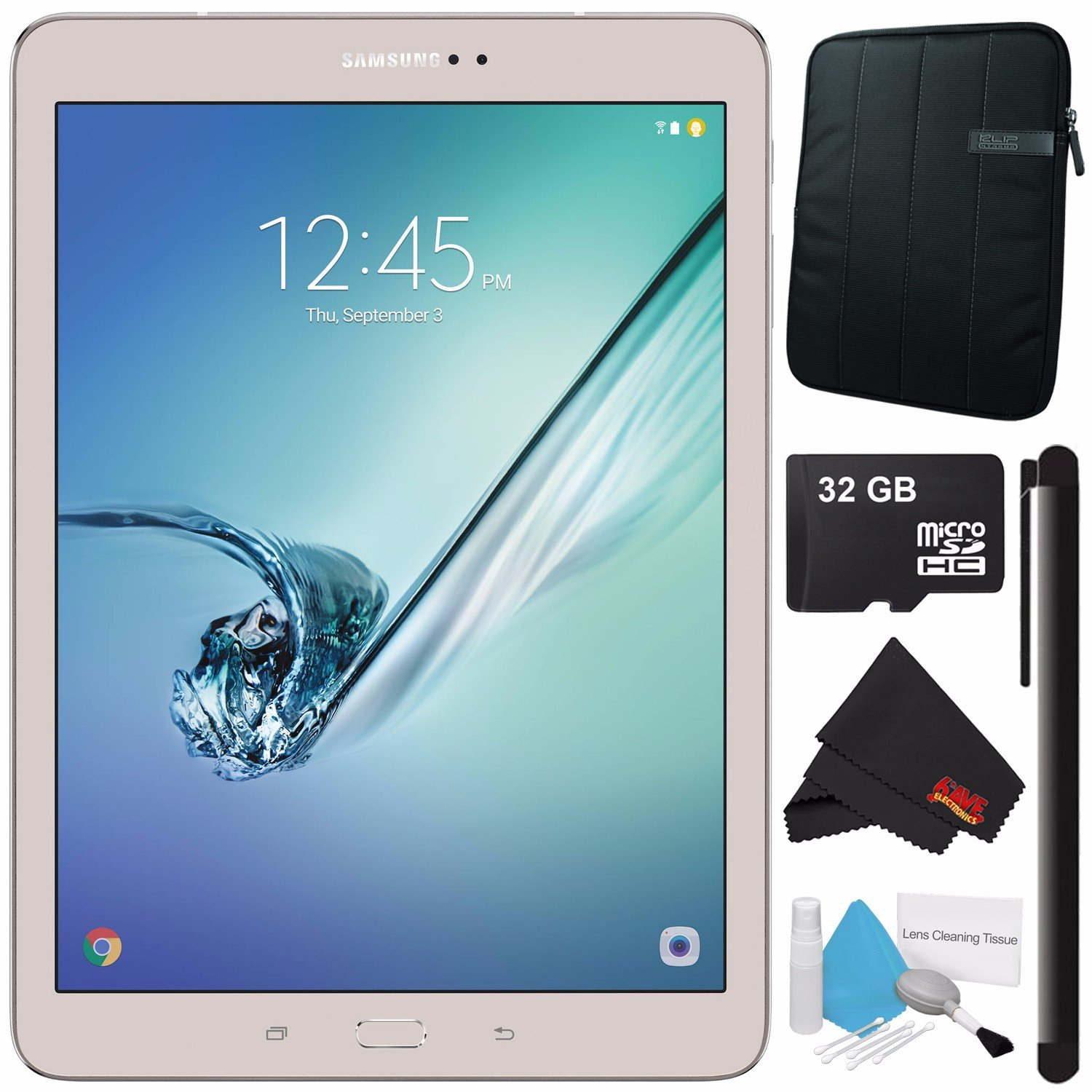 Samsung 32GB Galaxy Tab S2 9.7'' Wi-Fi Tablet (Gold) SM-T813NZDEXAR + Universal Stylus for Tablets + Tablet Neoprene Sleeve 10.1'' Case (Black) + 32GB Class 10 Micro SD Memory Card Bundle