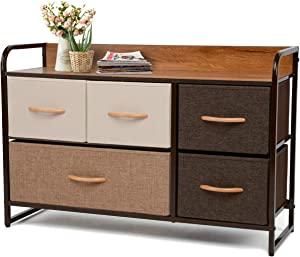 YOUNIS Dresser Storage Drawers Tower, 5 Drawers Storage Chests of Drawers Organizer Closet Shelves, Sturdy Steel Frame Wood Top Easy Pull Fabric Bins - Organizer Unit for Homes, Offices, Dormitories