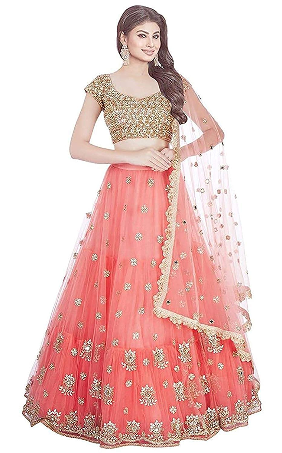 Fast Fashions Women's Net Embroidered Semi-Stitched Lehenga Choli with Blouse Piece