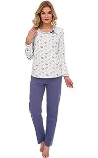 CANA nouvelle Klassischer Pyjama Schlafanzug mit Langer Hose aus Baumwolle,  Made in EU b7d5320df6