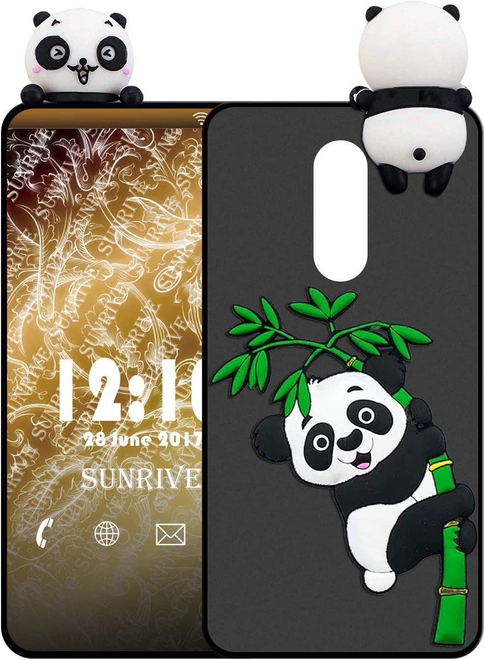 Sunrive Funda para ZTE Axon 7 Mini, Silicona Mate Funda Slim Fit Gel 3D Carcasa Case Bumper de Impactos y Anti-Arañazos Espalda Cover(W1 Panda 2) + 1 x Lápiz óptico