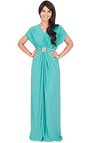 KOH KOH Womens Long V-neck Short Sleeve Ruched Waist Long Gown Maxi Dress Maxi Dress