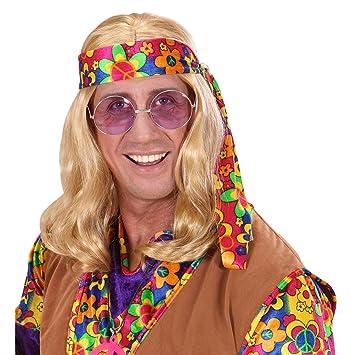 Hippie de los años setenta peluca rubio hippieperrücke de pelo peluca Señor peluca Flower Power Carnaval