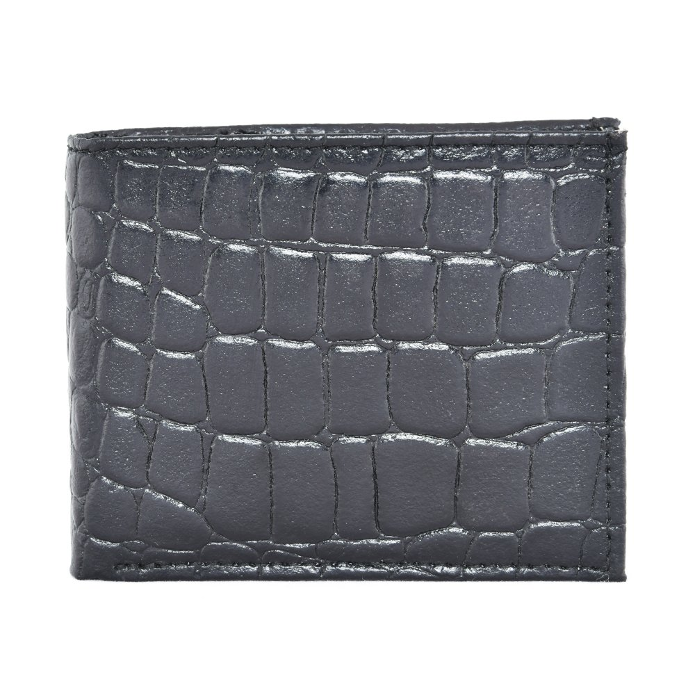 LEATHER OF INDIA Men's Leather Wallet Bi Fold - Embossed Croco 11.5 X 9 X 1 Cm Black