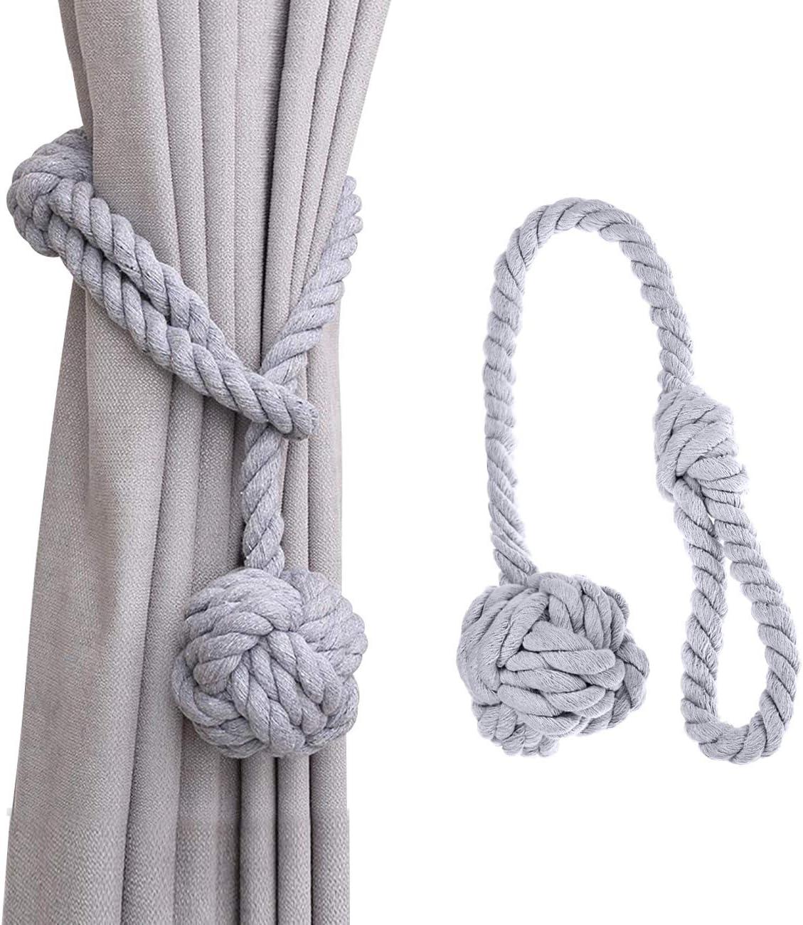 Beige, 1 Kugel, 1PC Dyna-Living Vorhang Raffhalter Gardinenhalter Seil Vorhanghalter Curtains Tie Backs Raffhalter Clip Curtain Holdbacks