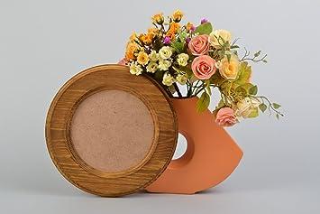 Marco de fotos artesanal de madera de pino redondo pequeño