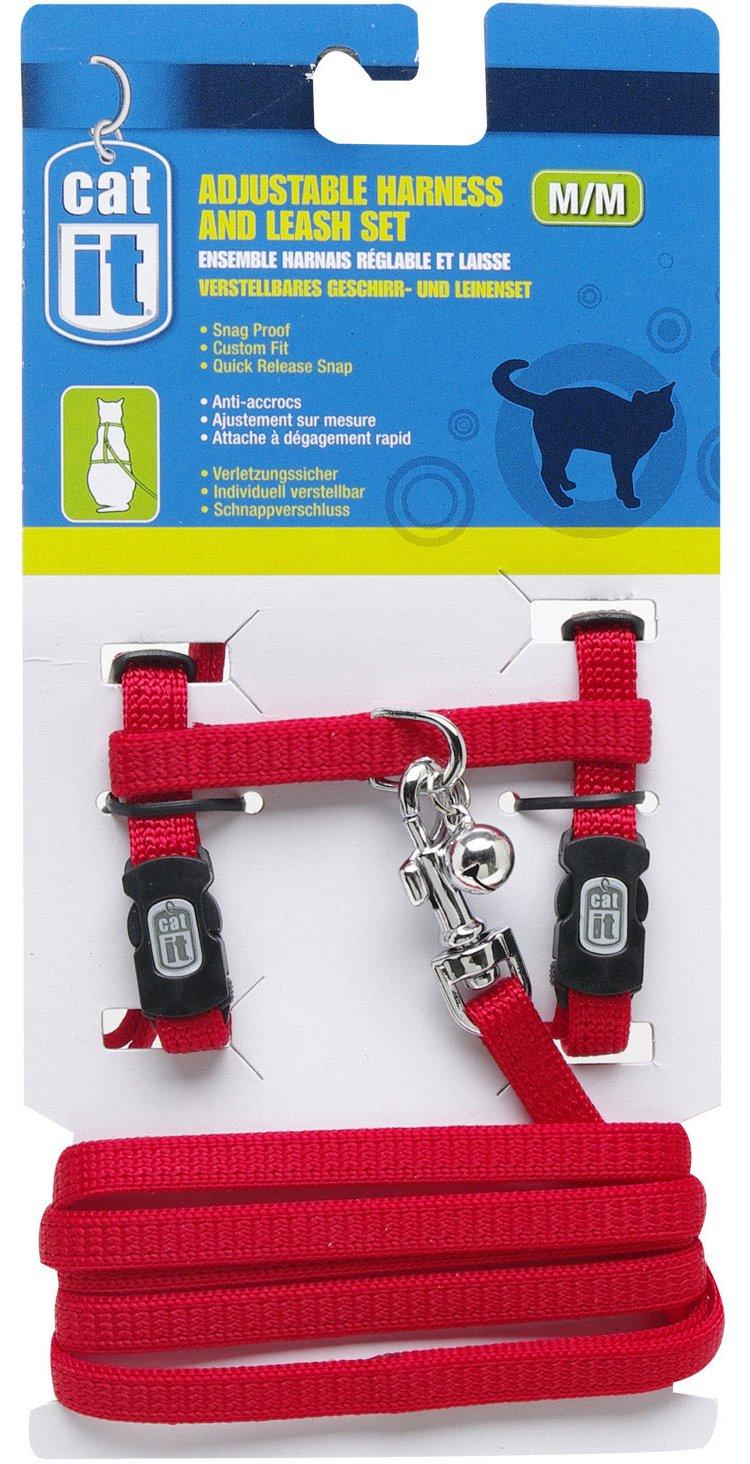 Catit Nylon Adjustable Cat Harness and Leash Set, Medium, Red