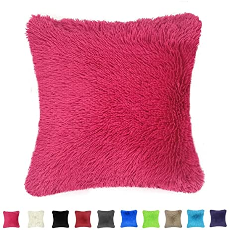 Throw it Super Silky Soft Faux Fur Square Shaggy Throw Pillow Cover 18u0026quot;x 18u0026quot  sc 1 st  Amazon.com & Amazon.com: Throw it Super Silky Soft Faux Fur Square Shaggy Throw ...