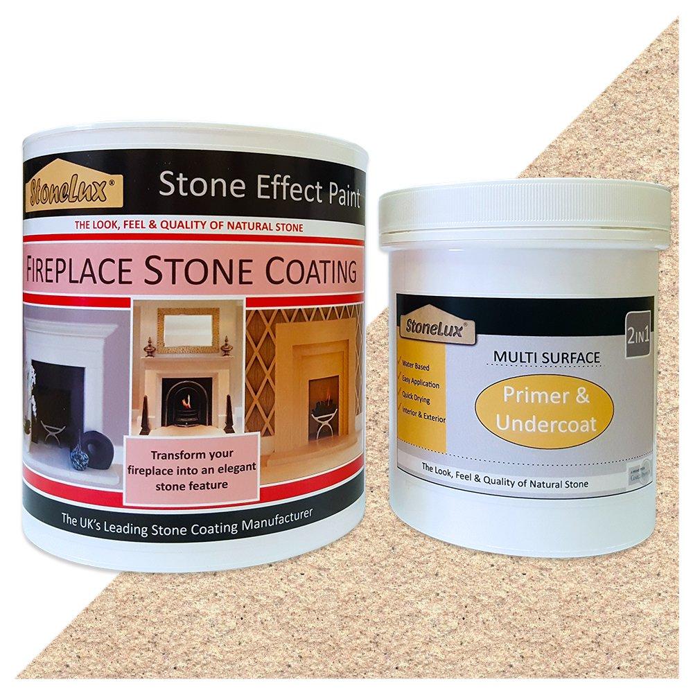 Charles Products Fireplace stone coating Ensemble avec 1 pot de peinture en imitation pierre de 1 l et 1 pot d'apprê t de 500 ml Idé al pour repeindre l'encadrement de cheminé e FP