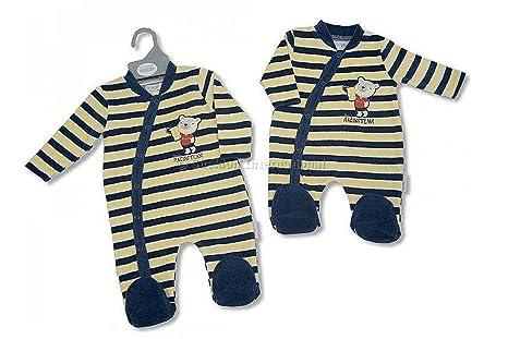 Nuevo – niños azul marino y amarillo rayas coche de carreras terciopelo pijama Onesie – Baby