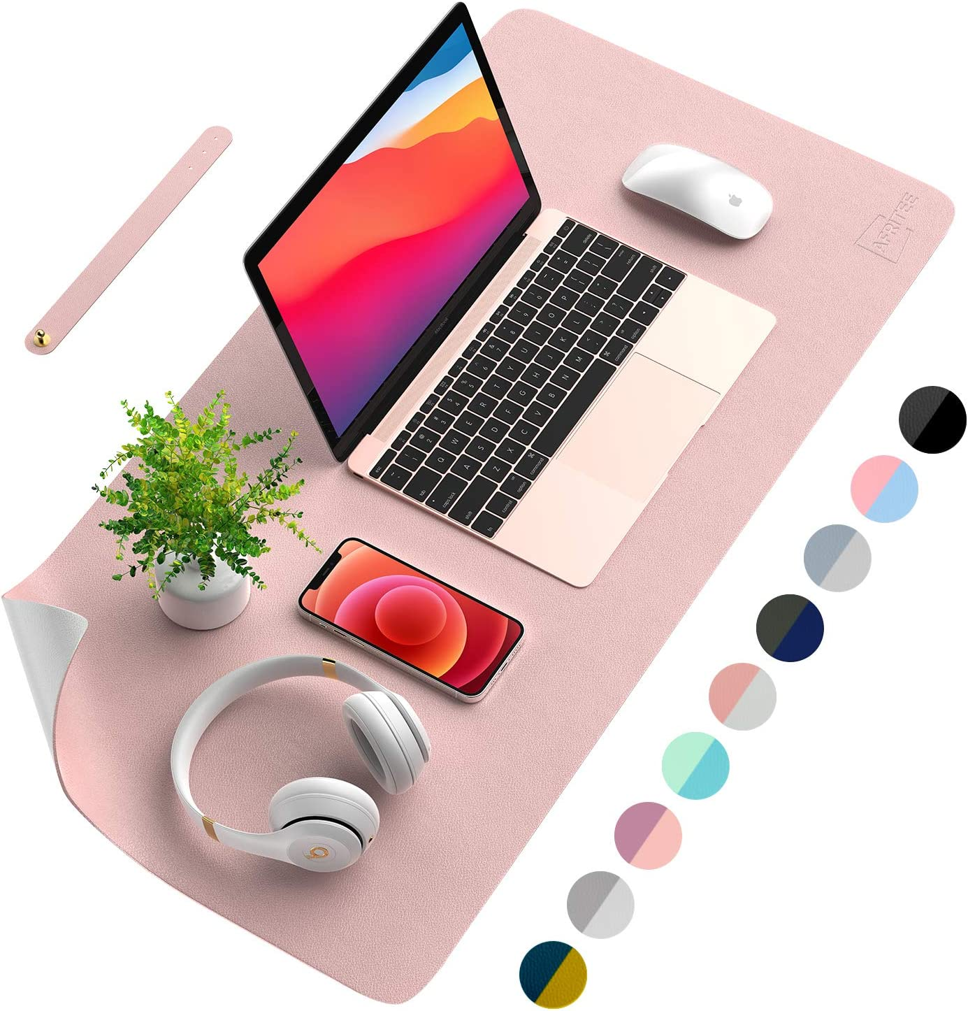 AFRITEE Desk Pad Protector Mat - Dual Side PU Leather Desk Mat Large Mouse Pad Waterproof Desk Organizers Office Home Table Decor Gaming Writing Mat Smooth (Rose Pink/Silver, 35.4