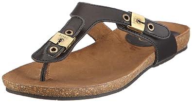 Scholl New Bimini femmes noires en cuir Thong Bioprint Flip Flop Sandales,