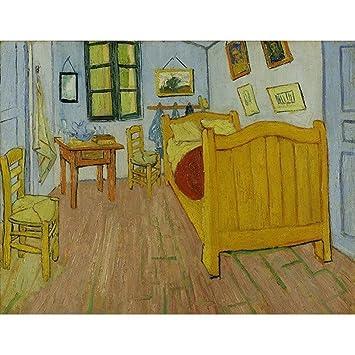 Amazon.de: Rahmen Druck auf Leinwand Vincents Schlafzimmer in Arles ...