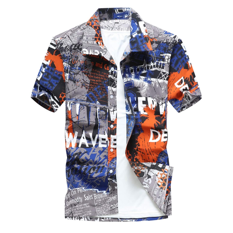 Shirts Men Clothes 2019 Summer Colorful Printed Short Sleeve Mens Hawaiian Beach Shirts Plus Size 5XL