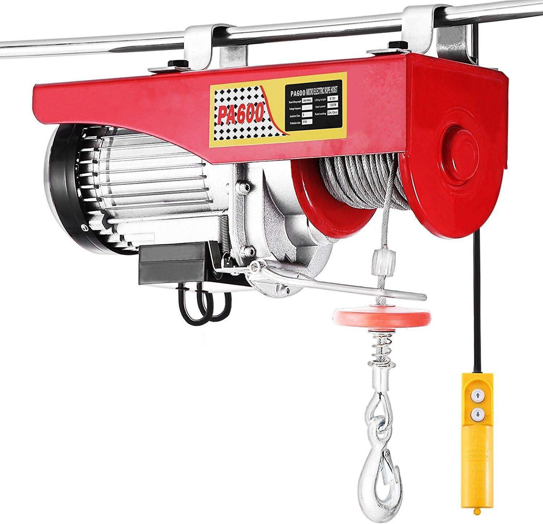 Tecmaqui Polipasto Eléctrico 1320LBS 600KG Elevador eléctrico 220V 12M Montacargas Eléctrico para Garage y Levantar Herramientos Pesados (600kg)