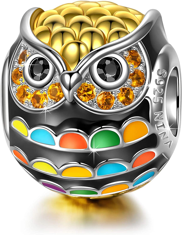 NINAQUEEN® Charms Abalorios - Búho Pájaro de Sabiduría Plata de Ley 925 Esmalte, Regalos Mujer, Regalo para Ella, Regalo de Cumpleaños Aniversario, con Embalaje de Caja Joyería