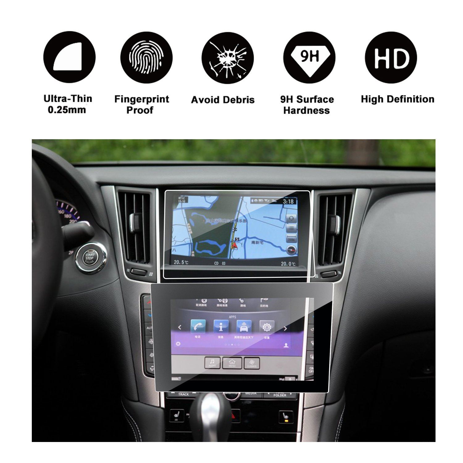 RUIYA 2016 2017 2018 Infiniti Q50 Q60 Car Navigation and Bottom Touch Screen Protective Film Combined Package (Pack of 2),8-Inch Clear Tempered Glass HD and Protect Your Eyes by RUIYA