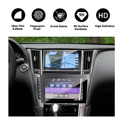 RUIYA 2016 2017 2018 Infiniti Q50 Q60 Car Navigation and Bottom Touch  Screen Protective Film Combined Package (Pack of 2),8-Inch Clear Tempered  Glass