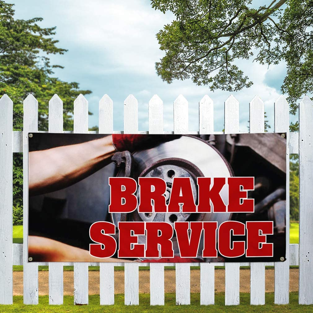 Vinyl Banner Multiple Sizes Brake Service Outdoor Advertising Printing G Automotive Outdoor Weatherproof Industrial Yard Signs Red 10 Grommets 60x144Inches