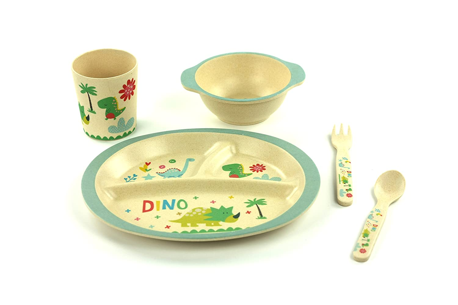 Amazon.com  Kids Dinnerware Set of 5 Piece - Toddler Bamboo Bowl Children Plate Cup Toddler Fork u0026 Spoon BPA Free Dinosaur Plates for Baby Shower Gift ...  sc 1 st  Amazon.com : dinosaur dinnerware - pezcame.com