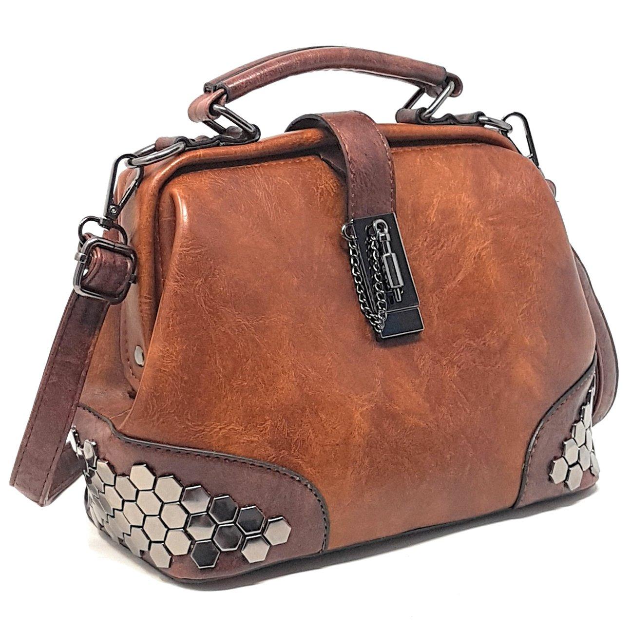 Vegan Leather Women's Handbag and Purse - Ladies' Doctor Bag w/Top Handle - Tote