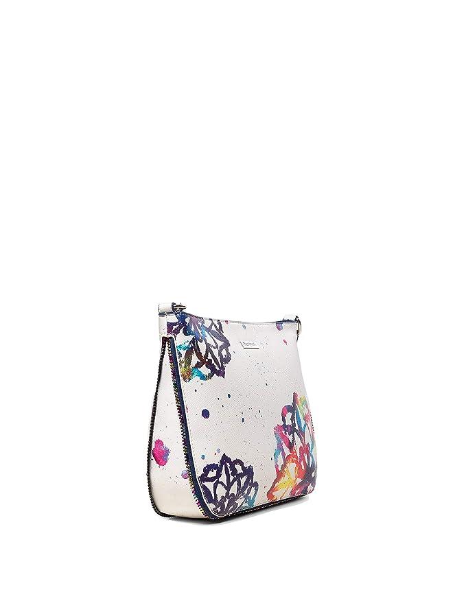 3bf33599e796f Desigual Borse donna Tracolla Bianca borsa Mandala Molina grande con zip e  tasca esterna Borsetta a spalla  Amazon.it  Abbigliamento