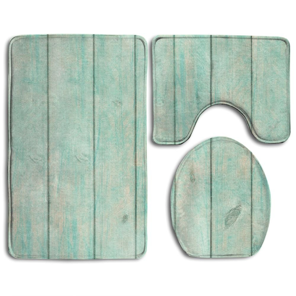 HOMESTORES Shabby Chic Wood Old Plank Turquoise Mint Skidproof Toilet Seat U Shape Cover Bath Mat Lid Cover For Bathroom