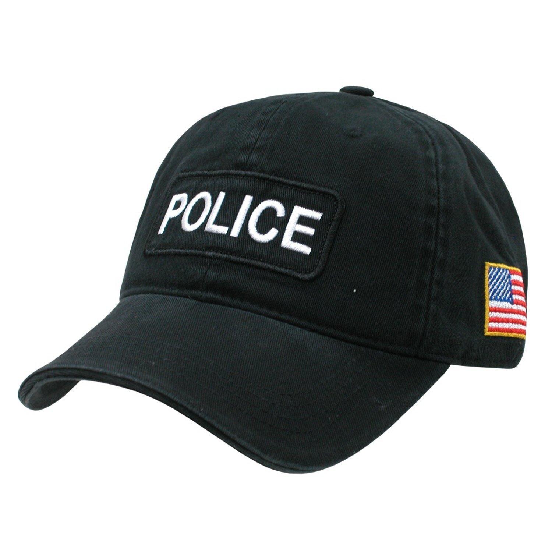 Amazon.com  Black Police Officer Polo Style Adjustable Baseball Cap Hat US  Flag  Clothing 640d957b8ea