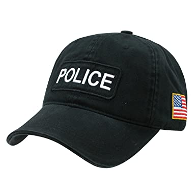 8400f3b97a7 Image Unavailable. Image not available for. Color  Black Police Officer  Polo Style Adjustable Baseball Cap Hat US Flag