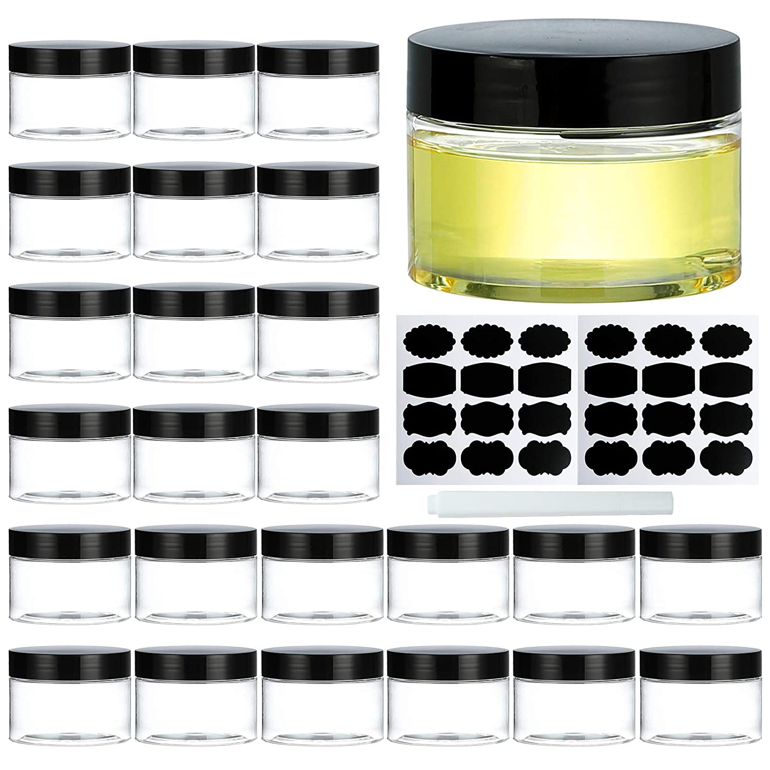 Plastic Jars with Lids, Dabacc 24Pcs 4Oz Clear Plastic Travel Size Containers Storage Organizer for Slime Cosmetic Body Sugar Scrubs Beauty Supplies Leak Proof, Including 1 Pen and Labels