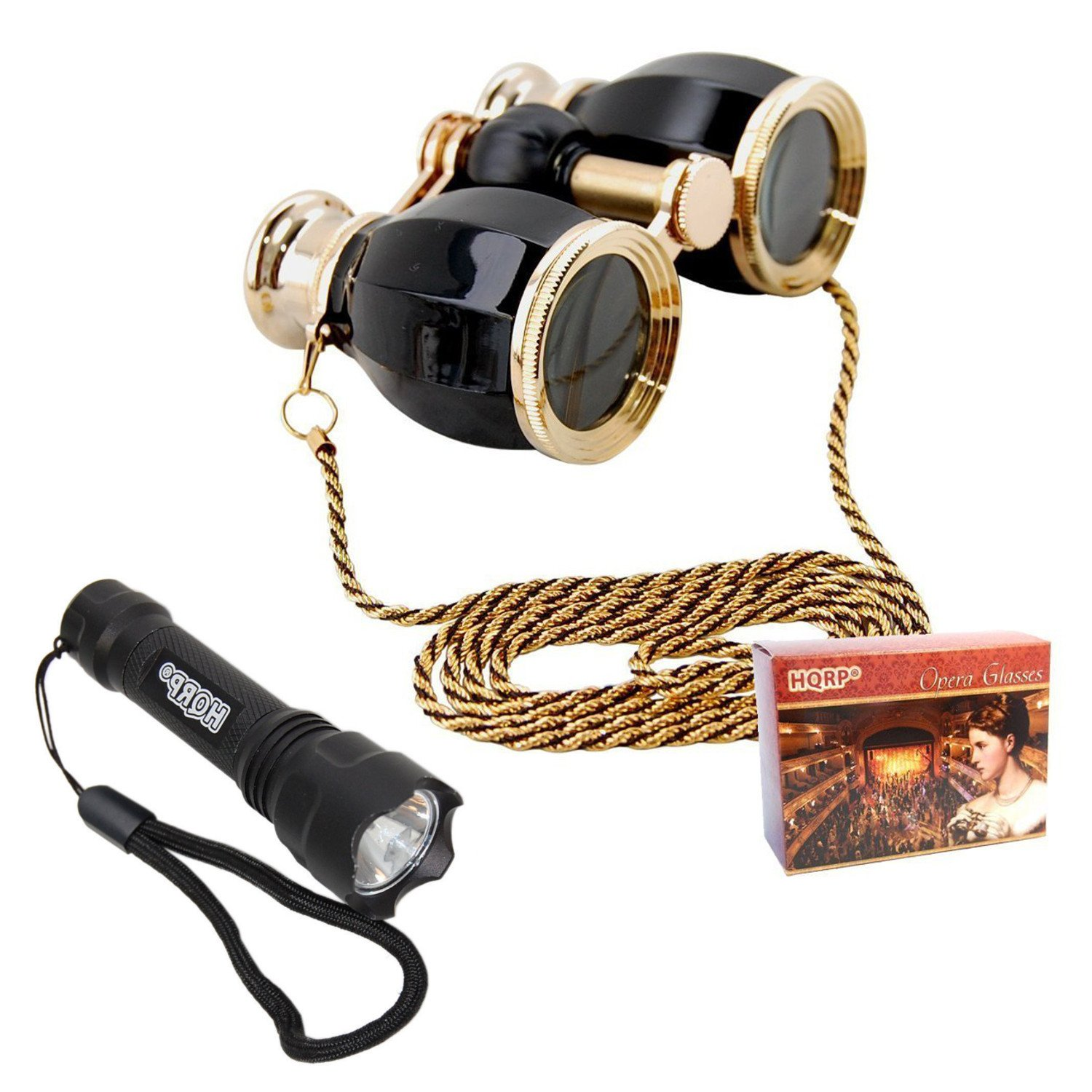 HQRP Theatre Kit: 4 x 30 Black Pearl Opera Glasses Binocular Antique Style with Gold Trim & Necklace Chain + Compact Ultra Bright Flashlight