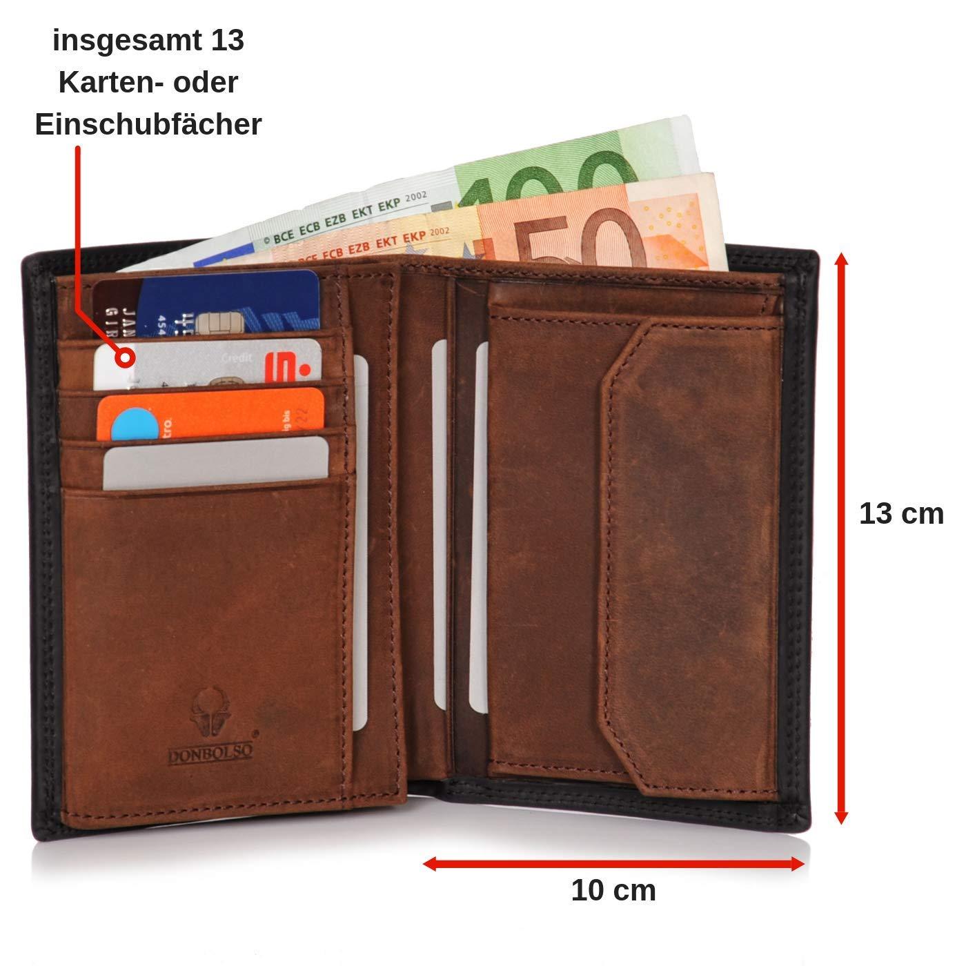 c8574051a7461 Donbolso Herren Leder Geldbörse Wien - Großes Portemonnaie für Männer - Wallet  schwarz braun mit Doppelscheinfach - Geldbeutel mit RFID Schutz  Amazon.de   ...