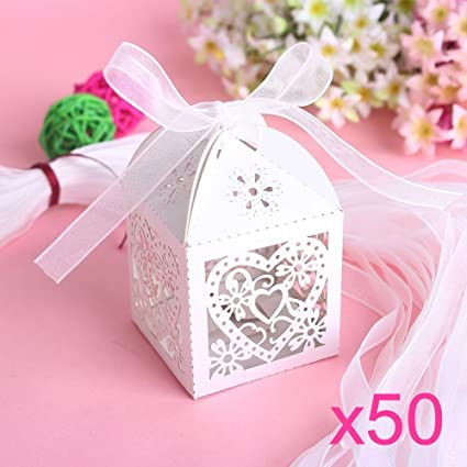JZK 50 Perlato bianco cuore scatolina portaconfetti scatola ...