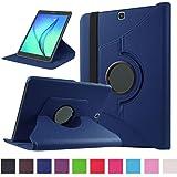 Coque pour Tab S2 9.7 - 360 degrés Rotation Coque en Cuir pour Samsung Galaxy Tab S2 9.7 Pouces SM-T810 / T815 Housse de protection Etui avec la fonction de stand Case/Cover (Bleu foncé)