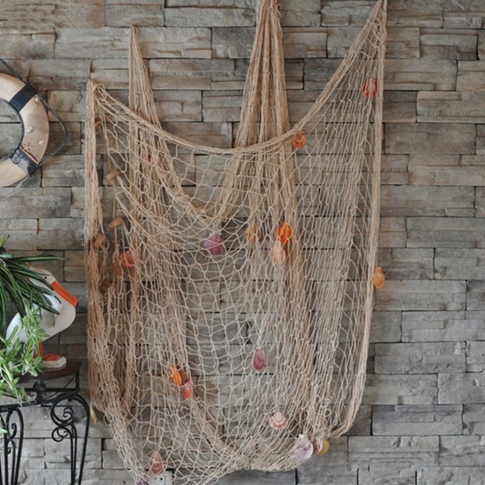 INLAR Fish Net with Sea Shells Mediterranean Style Fishing Net Decorative Background Wall for Pirate/Sea/Beach Theme Party Wall Hanging Decor Home Decoration(Beige)