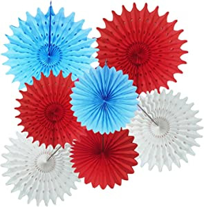Circus Birthday Decoration Turquoise White Red Tissue Paper Fans for Baby Shower Decorations/Circus Carnival Party Decorations/Airplane Birthday Party Decorations